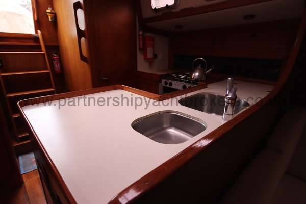 Classic Classic 45  The galley -  has a pilot berth above if needed