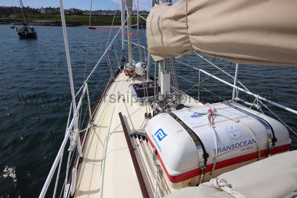 Folkboat Cruising Yacht Port side deck - life raft in stowage