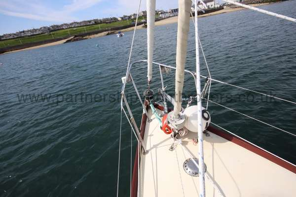 Folkboat Cruising Yacht Fore deck view - twin headsails