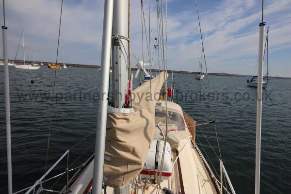 Folkboat Cruising Yacht Deck view - looking aft