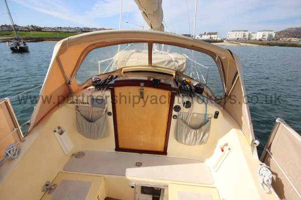 Folkboat Cruising Yacht The sprayhood - from the helm