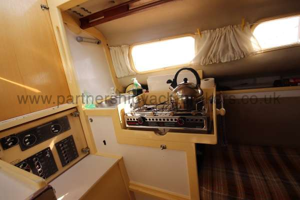 Folkboat Cruising Yacht The galley - located to port