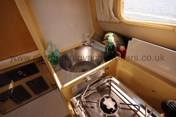 Folkboat Cruising Yacht The galley sink -