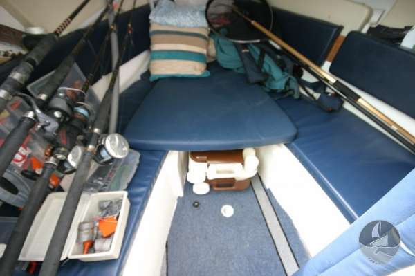 Jeanneau Merry Fisher 585 Toilet under the berth cushions -