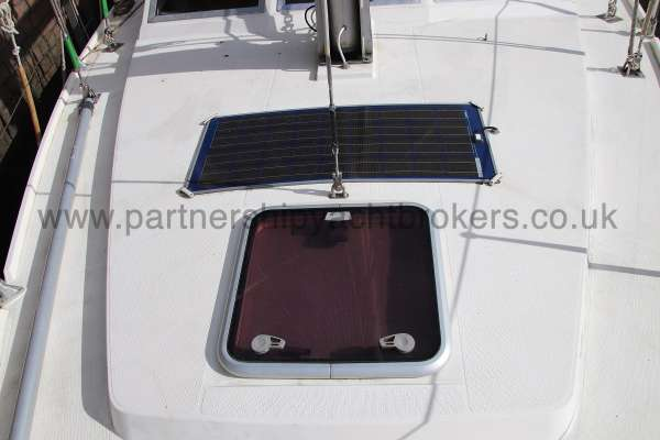 Southerly 105 The fore hatch - and solar panel