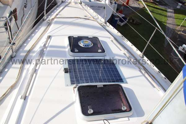 Moody 35 Deck view - hatches and solar panel