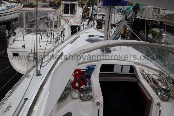 Moody 35 Port side deck view -