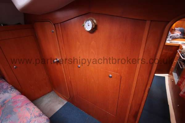 Moody 35 Owners cabin - access panel to the engine