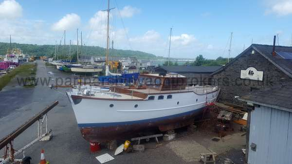 Wooden Classic Motor Yacht Twin Engine Out in the open - nearing the end of the rebuild