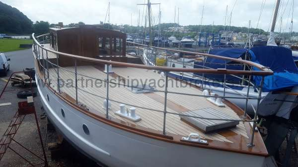 Wooden Classic Motor Yacht Twin Engine The after deck - All decks now re laid