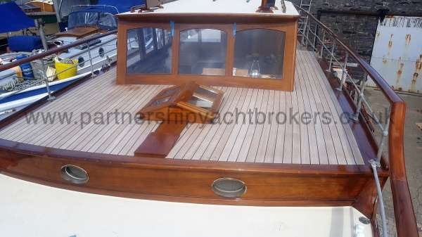 Wooden Classic Motor Yacht Twin Engine Looking aft  - from the fore deck