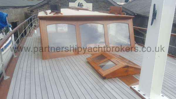 Wooden Classic Motor Yacht Twin Engine The re built wheelhouse - from the fore deck