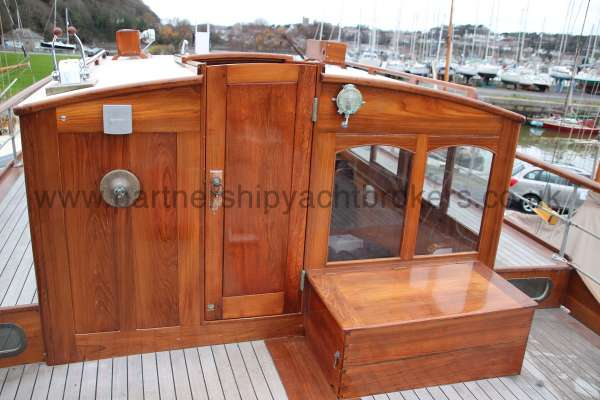Wooden Classic Motor Yacht Twin Engine The wheelhouse -  outside wheel not in place