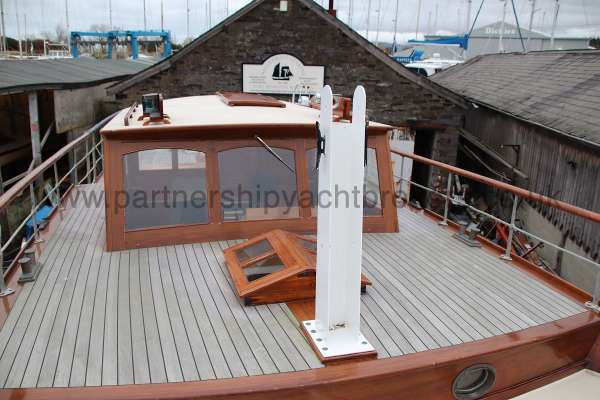 Wooden Classic Motor Yacht Twin Engine Deck view - looking aft