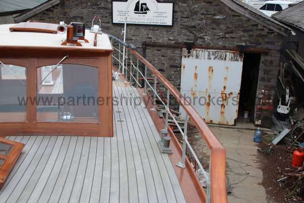 Wooden Classic Motor Yacht Twin Engine The port side deck - looking aft