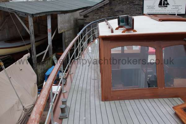 Wooden Classic Motor Yacht Twin Engine The starboard side deck - looking aft