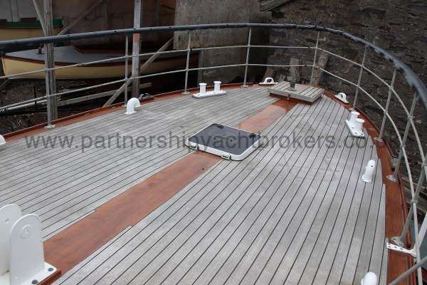 Wooden Classic Motor Yacht Twin Engine The after deck -  perfect laid decks