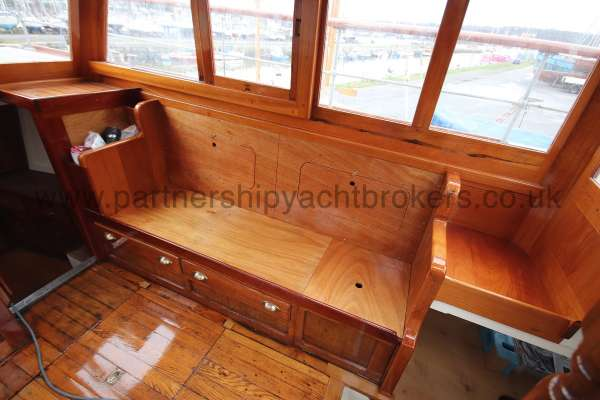 Wooden Classic Motor Yacht Twin Engine Wheelhouse detail - lovely woodwork