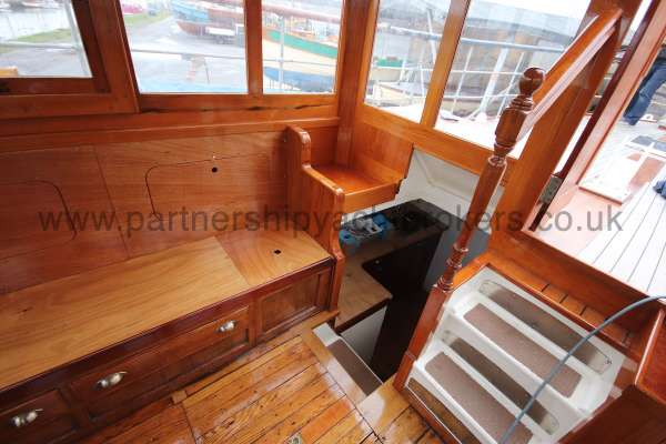 Wooden Classic Motor Yacht Twin Engine wheelhouse detail - starboard side