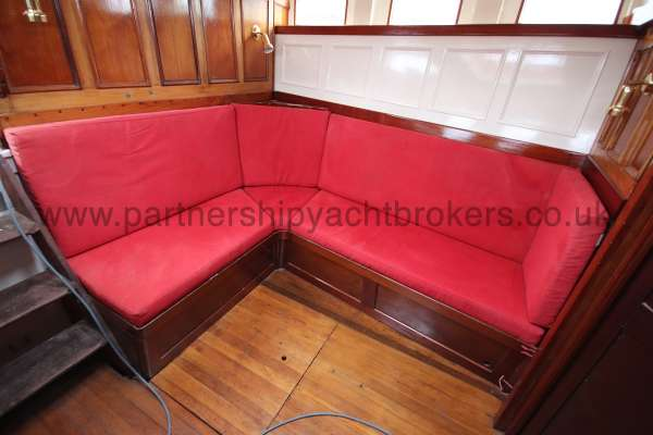 Wooden Classic Motor Yacht Twin Engine The saloon settees -