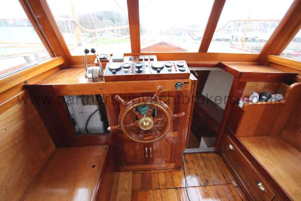Wooden Classic Motor Yacht Twin Engine Wheelhouse detail -