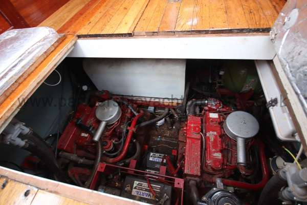Wooden Classic Motor Yacht Twin Engine The engine room -