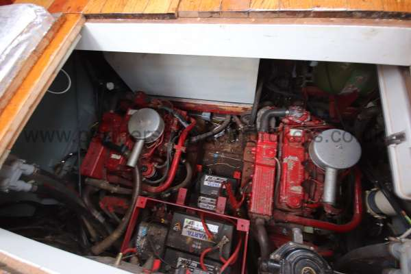 Wooden Classic Motor Yacht Twin Engine The twin engines - below the wheelhouse