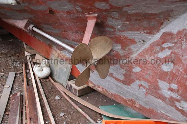 Wooden Classic Motor Yacht Twin Engine Rudder and port propellor -