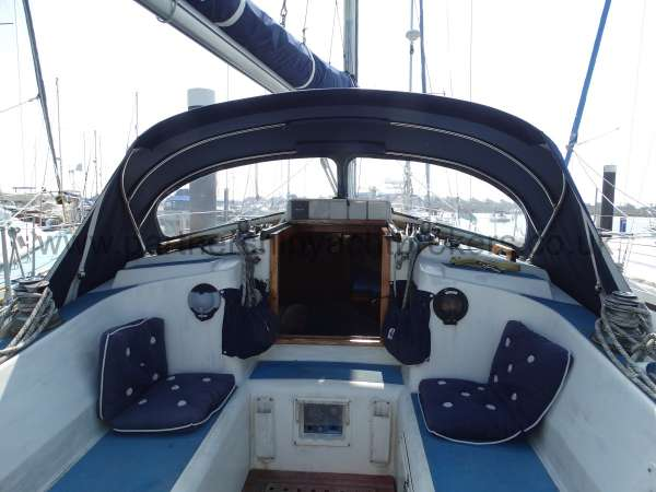 Westerly Fulmar Cockpit with sprayhood - owners pic