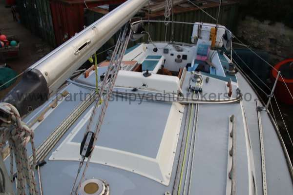 Westerly Fulmar Deck view - coach roof and cockpit