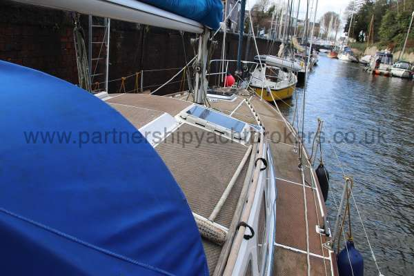 Westerly Vulcan Starboard side deck view -