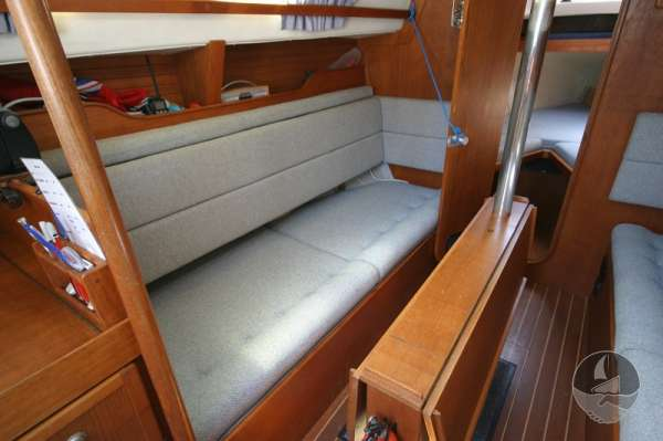 Hunter Channel 32 The [port settee berth with table stowed -