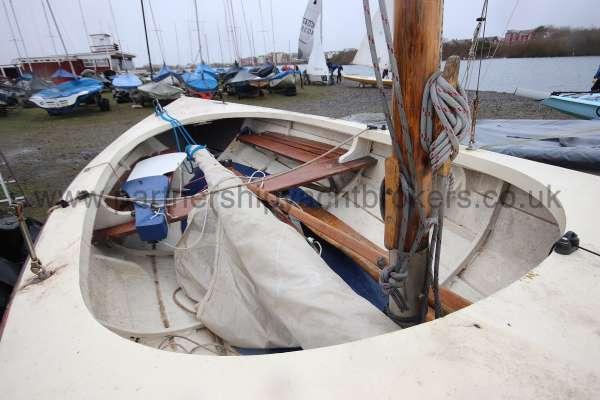 Home built Shetland Skiff Interior view - looking aft
