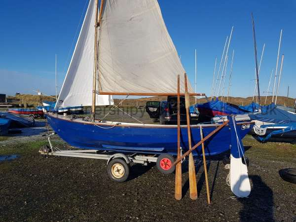 Home built Shetland Skiff Sails rigged owners pic - there is a new main sail