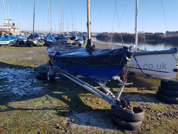 Home built Shetland Skiff On the trailer owners pic - with cover on