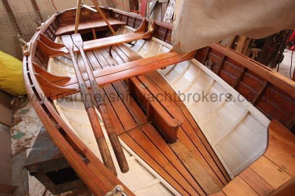 Wooden Classic Clinker built sailing dinghy Wooden clinker dinghy  - oars  too