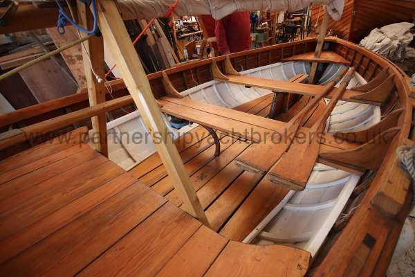 Wooden Classic Clinker built sailing dinghy Wooden clinker dinghy  - interior view