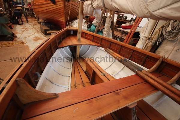Wooden Classic Clinker built sailing dinghy Wooden clinker dinghy  - interior from aft