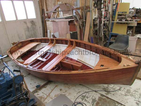 Wooden Classic Clinker built sailing dinghy Wooden clinker dinghy  - in the workshop