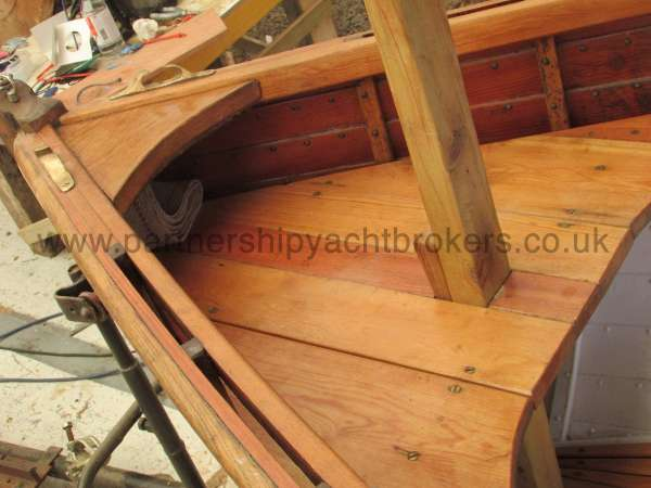 Wooden Classic Clinker built sailing dinghy Wooden clinker dinghy  - fore deck and mast step