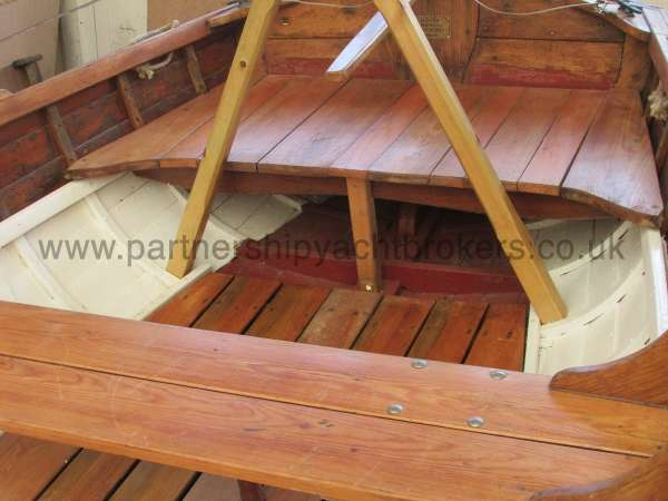 Wooden Classic Clinker built sailing dinghy Wooden clinker dinghy  - interior detail