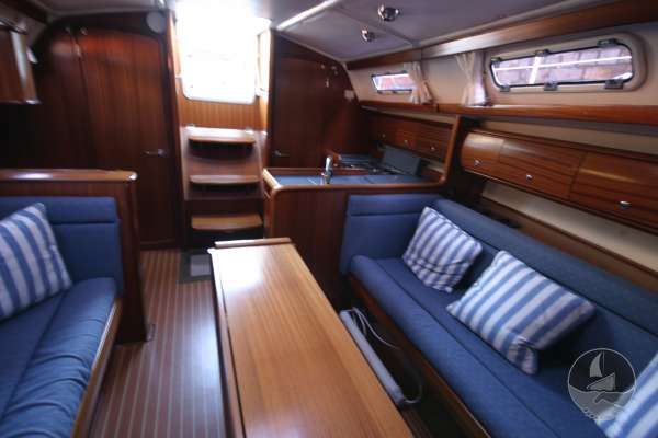Bavaria 36 The saloon looking aft -