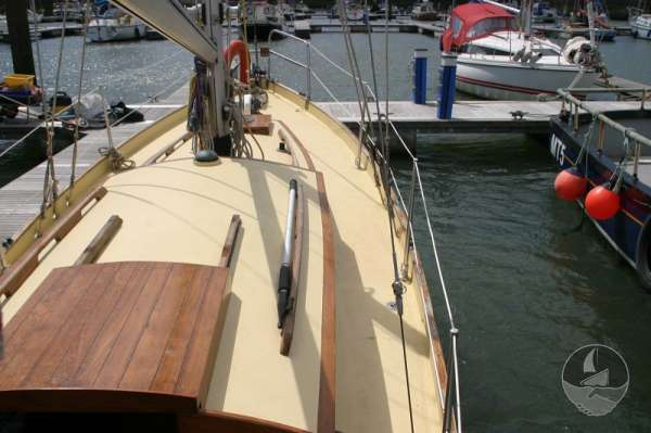 Vertue Classic Wooden Yacht Starboard side deck -