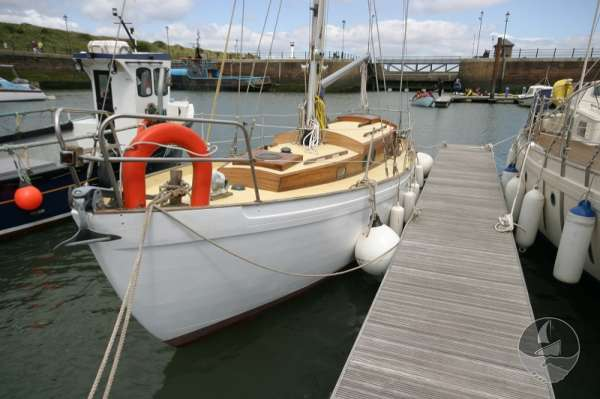 Vertue Classic Wooden Yacht On her berth -