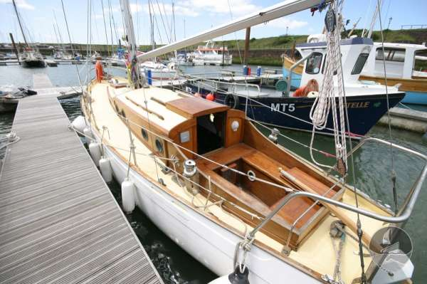 Vertue Classic Wooden Yacht Port quarter view -