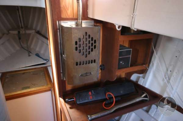Vertue Classic Wooden Yacht The saloon heater -