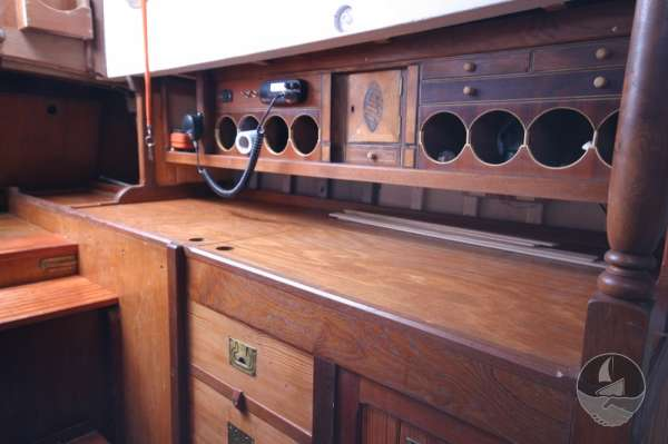 Vertue Classic Wooden Yacht Saloon detail -