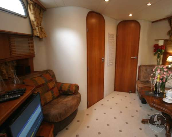 Elling E3 Executive Specification Lower saloon view - The doors give access to the fore cabin and heads compartment