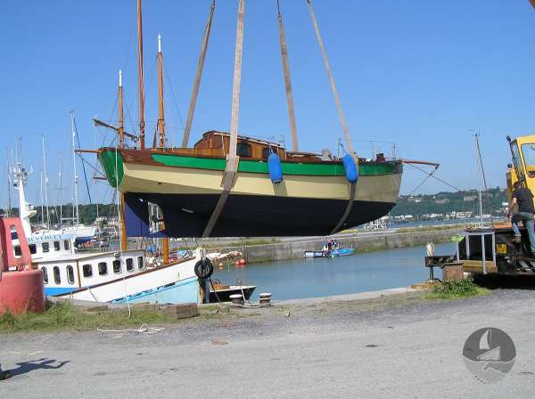 Keyhaven Yawl In the slings -