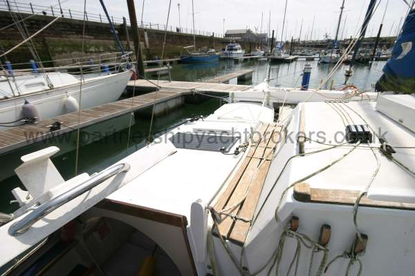 Wharram Tiki 30 The port side deck looking forwards -